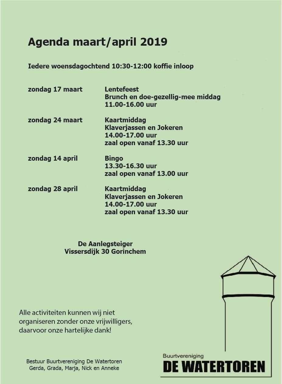 Agenda Buurtvereniging de Watertoren @ Aanlegsteiger