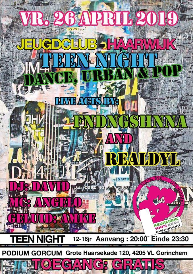 Teen Night: met live acts van: Fndngshnna & Realdyl @ Jeugdclub Haarwijk