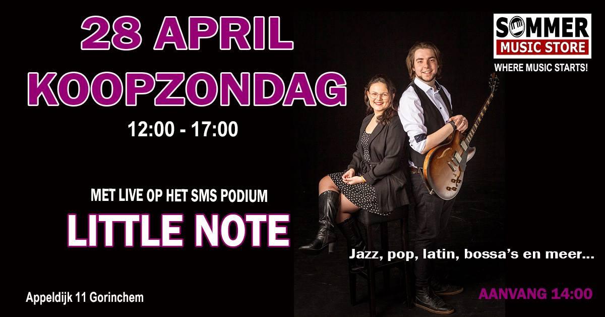 Koopzondag met live optreden van Little Note @ Sommer Music Store